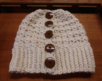 Ponytail / Messy Bun Crochet Hat ~ Cream With Brown Button Embellishments ~ Adult Woman / Teen ~ Ready To Ship!