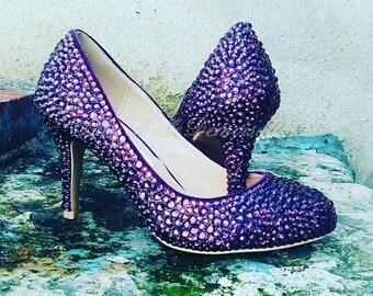 Purple Crystal Bridal Shoes, Rhinestone Shoes, Pumps, Heels, Purple Crystal Heels, Purple Wedding Shoes.