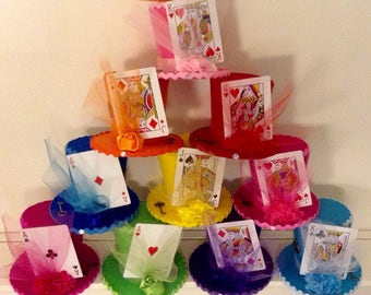 """Alice in Wonderland Decorations - 10 Colorful Felt Hats with Playing Cards, Fascinators, Mad Hatter Tea Party, Birthday, Shower (3.5"""" Tall)"""