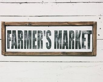Farmer's Market wood sign / Farmhouse Sign