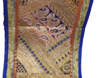 Indian Antique sari embroider patchwork rectungular Tapestry wall hanging table throw runner home decoration