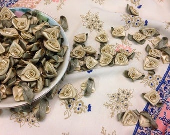 Satin Miniature Roses, Chino color Rosettes, Satin Rosettes, Chino Silk Flowers- 10 pieces