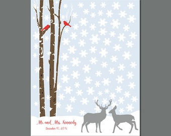 90 Guest Winter Wedding, Christmas Wedding Guestbook Alternative, Snowflake Wedding Guest Signature Print, Snow Guestbook, Deer Guestbook