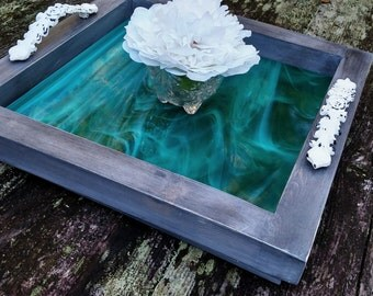 Serving Tray-Wood-Aqua Teal Green Art Glass-White Antiqued Metal Handles-Handmade-Grey Barnwood Finish-Ottoman Tray-Contemporary