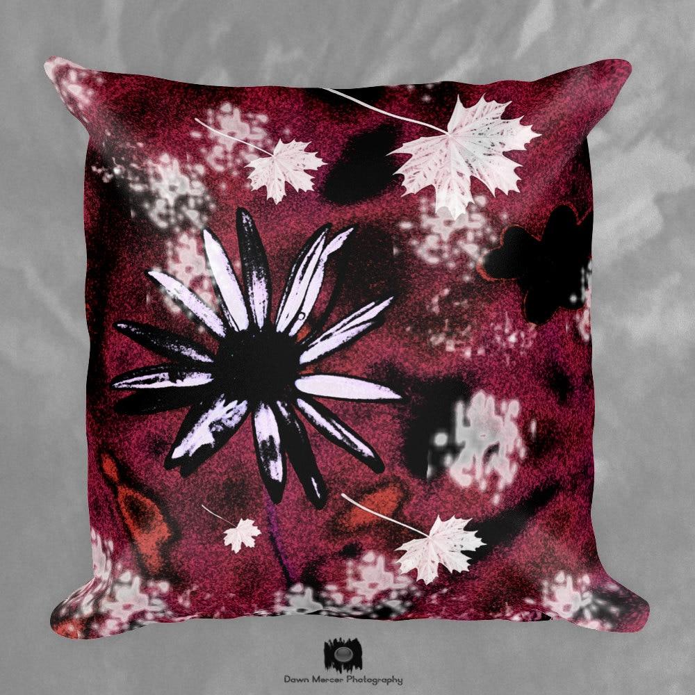Floral Pillow Red Decor Pillow Floral Print Throw Pillow Square Decorative Pillow Red Floral ...