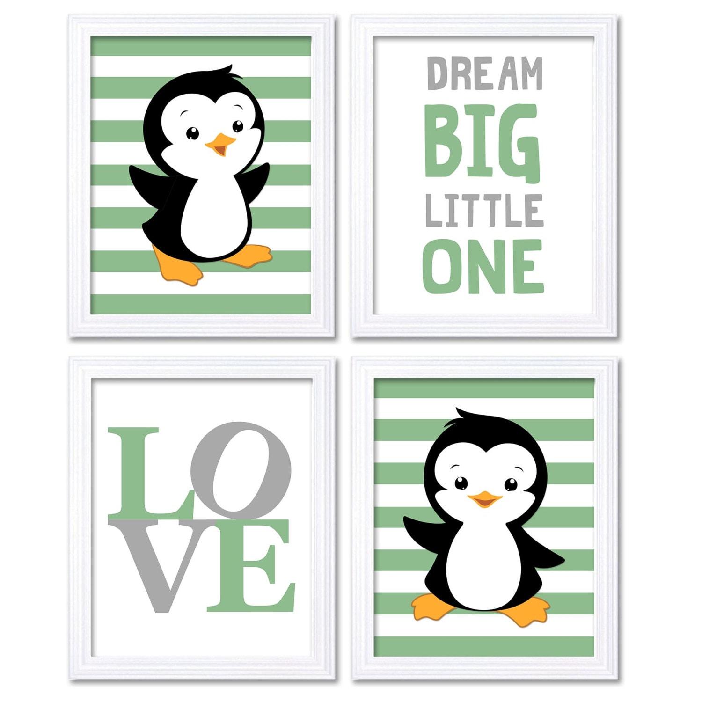 Penguin Nursery Art Baby Chevron Green Grey Dream Big Little One LOVE Set of 4 Prints Penguin Wall A