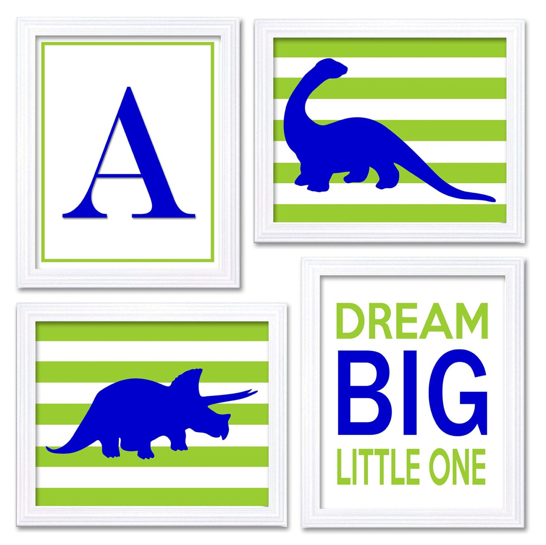 Navy Blue Lime Green Dinosaur Nursery Art Set of 4 Prints Stripes Tyrannosaurus Rex Brachiosaurus Dr