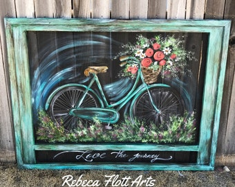 Made to Order,Love the JourneyII, Large bicycle wall art,  Huge size vintage bike , hand painted and handmade recycled frame