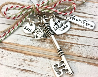 Our First Home - Custom Christmas Ornament - House - Family - Housewarming Gift - New Home - Wedding - Hand Stamped - Skeleton Key