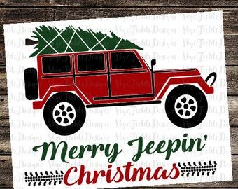 Merry Jeepin' Christmas Tree SVG, Silhouette Studio, Cameo, Cricut, Jeep CJ, Off Road, Wrangler, jeeping, 4 wheeling, country boy, southern