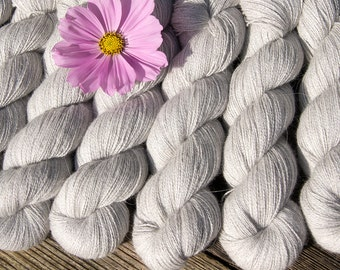 Angora PURE LACE Natural Subtle Grey. Homegrown Bunny Lace Yarn from Our Own Rabbitry.