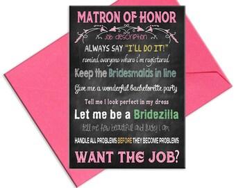 Matron of Honor Card   Job Description for Matron of Honor