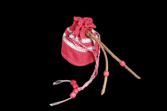 Wristlet, Drawstring Bag, Crochet, Handbag, Pink and White, Leather Drawstring, Handmade, Boho Chic, Bohemian