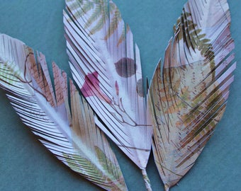 3 Recycled paper feathers, paper art