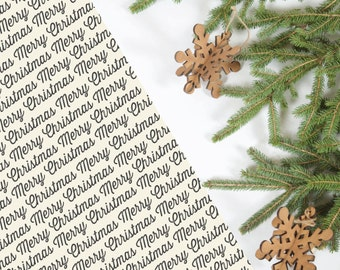 Merry Christmas Wrapping Paper; Black & White; 5 Sheets
