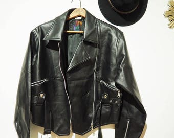 20% off * Vintage fake leather motorcycle/biker jacket-90's