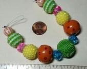 Designer Beads / Orange, Yellow, Green, Pink / Art Beads Strand / Rhinestones