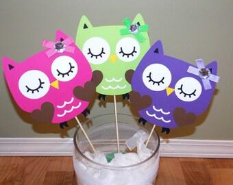 Owl Birthday Baby Shower Centerpiece in Purple Lime Pink,Owl Decor,Owl Baby Shower, Owl Birthday,Owl Party, Baby Shower Centerpiece,Owl vase
