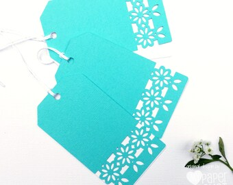 Flower gift tags. Floral lace tags. Turquoise blue and white. Swing tags for birthdays, baby showers, mother's day, all ocassion gifts.