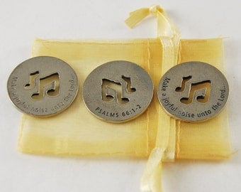 Set of 3 Make a Joyful Noise - Psalms 66:1-2 Scripture Coin with Organza Bag