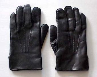 Men's New Soft Black Leather Rabbit Fur Lined Winter Gloves XL Stunning