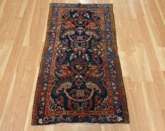 Vintage Persian Rug Dark Blue Oriental Rug 2' 9 x 4' 11 Hamedan
