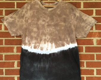 Brown & Black Dip Dye, Tie Dye, Tee Shirt Size XL Hanes Extra Large