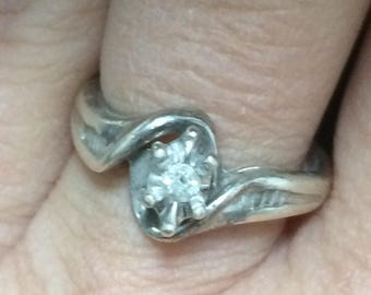 STUNNING Sterling Silver 925 Genuine Diamond Band Ring Size 6.25