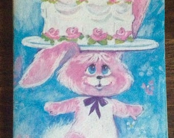 Set of 5 Vintage Children's Birthday Party Invitations with Envelopes - Pink Bunny