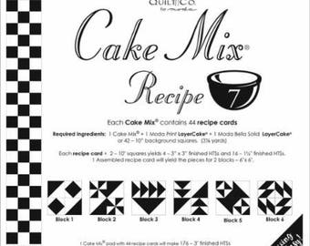 "Moda Cake Mix Recipe #7 ~44 recipe cards will make 176 3"" HST & 704  1 1/2"" Fin HST,Fast Shipping PT488"