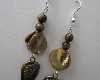 Wings and Shells Dangle Earrings