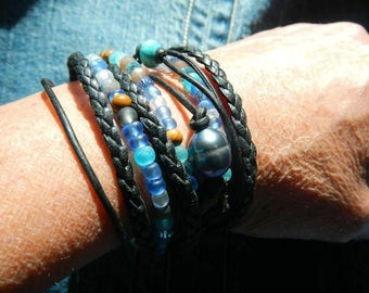 Boho Wrap Bracelet, Leather Wrap Bracelet, LeatherWrap, Beaded Wrap, Leather Bracelet, Wrap Leather Bracelet  (FREE SHIPPING)!!