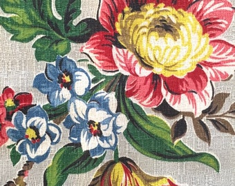 Vintage 40s Grey Cotton Floral Barkcloth Fabric   1 1/2 yards