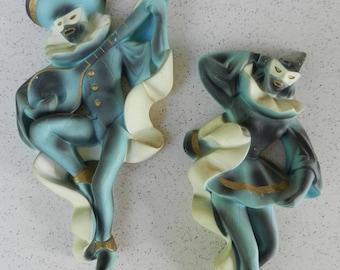 Pair of 1960 Miller Studio Chalkware Harlequins, Minstrels, Troubadour, Ballerina, Jesters, Mid Century Wall Decor, Wall Art