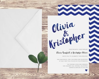 The Sonora Wedding Invitation and RSVP Set, Navy Blue Wedding Invitation, Watercolor Wedding Invite, Customized Invitation, Art Deco Wedding