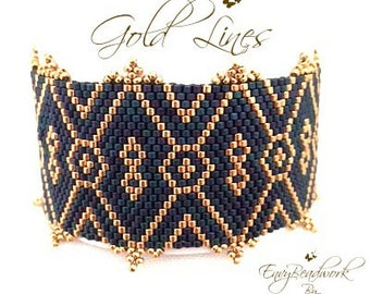 "Beading Kit: ""Gold Lines"" Bracelet In English- Beads only! D.I.Y."