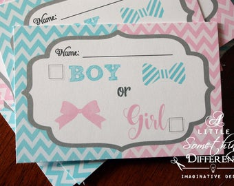 Gender Reveal Ballot Cards / Blue and Pink Chevron Gender Reveal Cards / Voting Cards / Gender Reveal Games