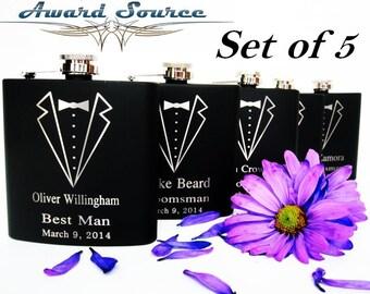 Set of 5 Custom Engraved Groomsman Tuxedo Hip Flasks for Men // Great Wedding Party Favor // Toasting Glasses for Rehearsal Dinner Gifts