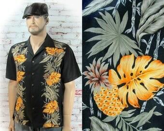 Men's Hawaiian shirt, Men's Aloha Tiki Shirt, men's tropical shirt - retro Hawaiian shirt -Men's Vacation Shirt, L (large)   # 157