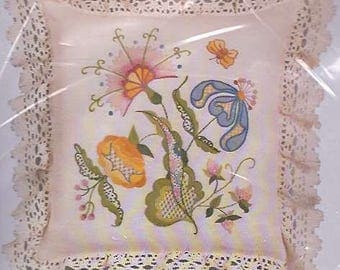 Pastel Jacobean Pillow crewel embroidery kit