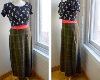 Vintage Plaid Skirt, Long Maxi Skirt, 90s Green Plaid Skirt, Tartan Skirt, Size Medium Large, Preppy Skirt, Secretary Plaid Skirt, We Too