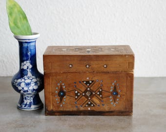 Old Wooden Marquetry Brass Wire Mother of Pearl and Bead Inlay Lidded Box