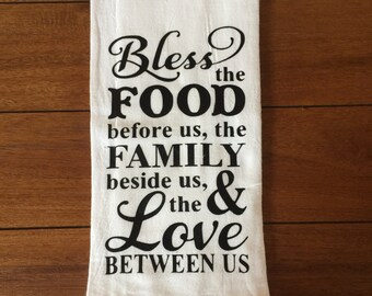 Bless The Food Kitchen Towel Family Kitchen Towels House Warming Wedding  Gift