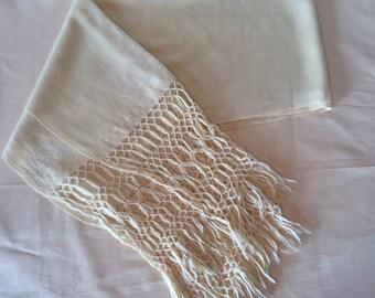 Lovely Ivory Wool Fringe Scarf // Long Scarf