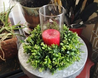"""8-9"""" Candle Boxwood Wreath, Candle Ring Wreath, Artificial Boxwood Wreath, Boxwood Decor"""