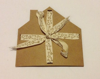 New Home Blank Greetings Card With Key Print Ribbon