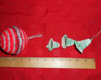 2 Vintage Crafted Christmas Tree Ornaments Ball Bells Lot
