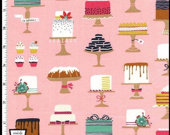 Sweet Cakes Fabric in Pink by Michael Miller Fabrics 100% Cotton - Bake Shop Confetti