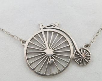 Cute and Fun Sterling Silver Old Time Bicycle Choker
