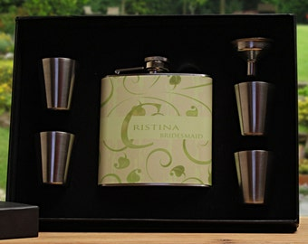 Green Wedding, Personalized Flasks for Bridesmaids, Set of 2